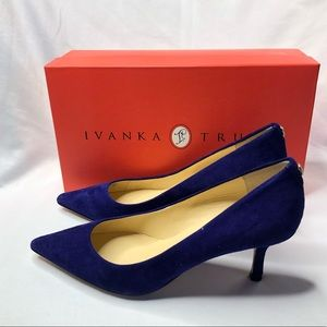 Ivanka Trump Royal Blue Suede Pointed Toe Pump